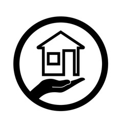 house icon with hand concept vector image