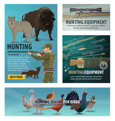 Hunting season animal and bird hunter ammunition vector