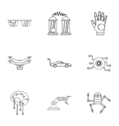 Innovation icons set outline style vector image