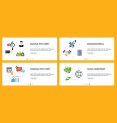 internet banner set business investment and vector image