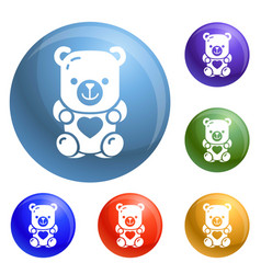 jelly bear icons set vector image