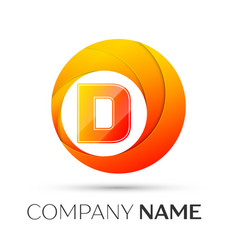 letter d logo symbol in the colorful circle on vector image