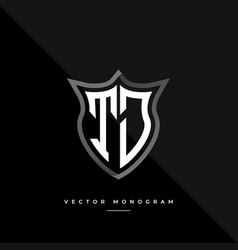 Letters tj logo design silver shield t j monogram vector