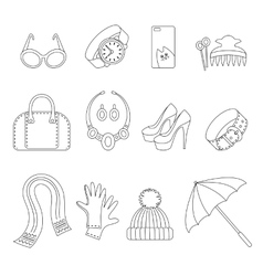 Line icons set of women s Accessories vector