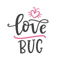 love bug hand written funnt lettering vector image