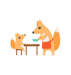 Loving mother fox serving plate to her child who vector