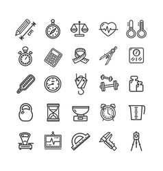 measurement signs black thin line icon set vector image