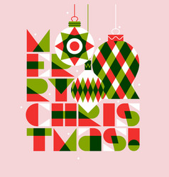 merry christmas lettering and xmas balls vector image