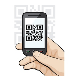 mobile phone scanning qr code vector image
