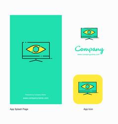 monitor company logo app icon and splash page vector image