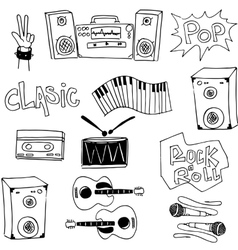Music set tools doodles collection stock vector