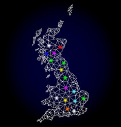 Network mesh map of great britain with vector