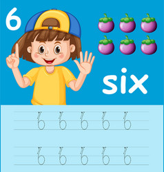 Number six tracing alphabet worksheets vector