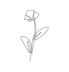 One continuous line drawing beautiful abstract vector