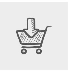 Online shopping cart sketch icon vector image