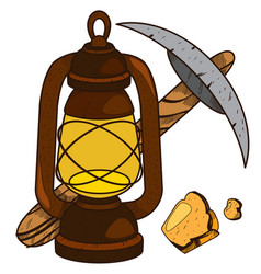 Pickaxe and oil lamp icon useful resources vector