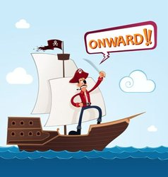 pirate on a sailing ship vector image