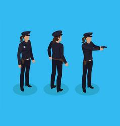 policewoman cop icons set vector image