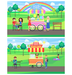 popcorn and candy cotton set vector image