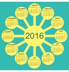 rays sun simple 2015 year calendar vector image