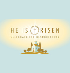 Religious banner on easter theme with a church vector