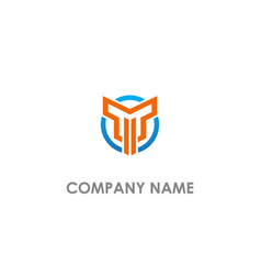 Round t initial logo vector