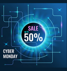 Sale banner up to 50 for cyber monday on tech blue vector