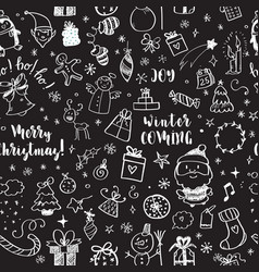 seamless doodles christmas pattern cartoon vector image