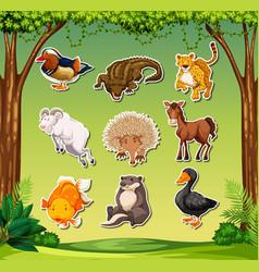 Set animal sticker pack vector