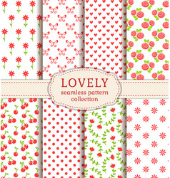 set cute seamless patterns backgrounds vector image