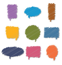 set of colorful hand drawn speech bubbles vector image