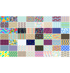 set of colorful seamless geometric pattern vector image