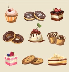set of delicious sweets and desserts vector image