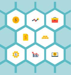 set of economy icons flat style symbols with vector image