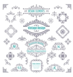Set of Vintage Line Art Calligraphic vector