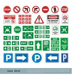 Set street sign evacuate sign smoking area vector