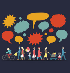 Set walking people with speech bubbles vector