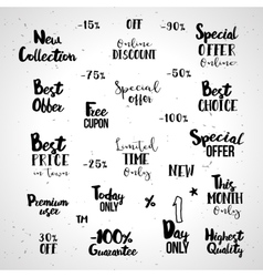Shopping typography set vector image