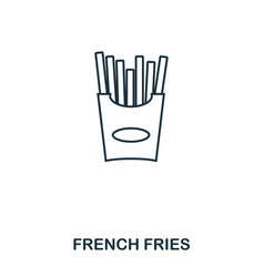 simple outline french fries icon pixel perfect vector image