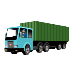 Smiling truck driver driving big cargo truck vector