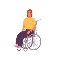 smiling woman sitting in wheelchair vector image