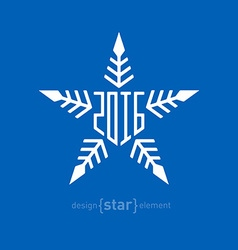 snowflake with new year date vector image