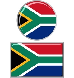 South African round and square icon flag vector