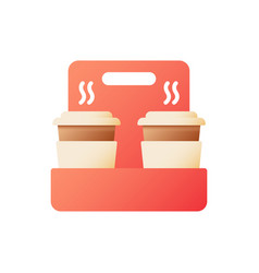 Tea takeaway in holder flat color icon vector