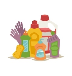 Two plastic spray cleanser bottle with cleaning vector