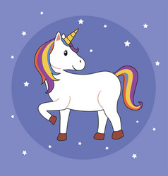 unicorn on purple background vector image