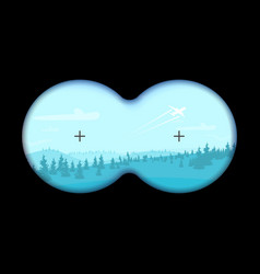 view through binoculars on a flat cartoon vector image