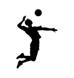 Volleyball player hitting ball in jump silhouette vector
