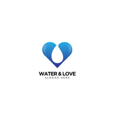 Water and love logo design vector