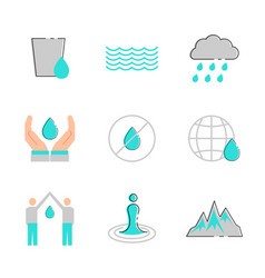 water icon set in flat style symbol vector image